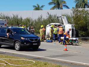 Overturned 4WD rolled across highway lanes
