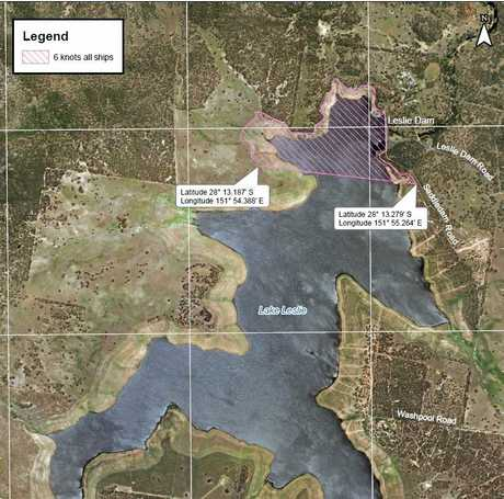 A six-knot speed limit will now apply to boats in the purple section of Leslie Dam.