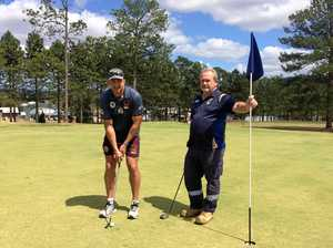 Brisbane broncos players swap footy for golf in Gympie