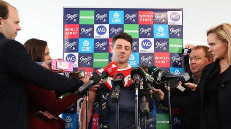 "Roosters halfback Cooper Cronk faces the media two days after breaking his scapula, saying everyone is on a ""need to know"" basis."