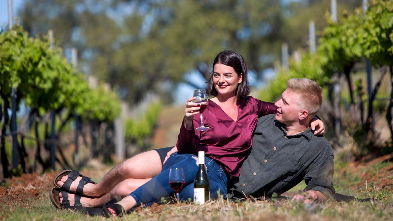 Brisbane couple Kelsie and Eamon Viner took a trip to the Hunter Valley after hearing from friends about the scenery. Picture: Supplied