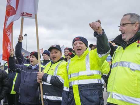 TWU National Vice President John Berger during a Victorian bus drivers strike for better pay in Melbourne in July. Picture: AAP/Wayne Taylor