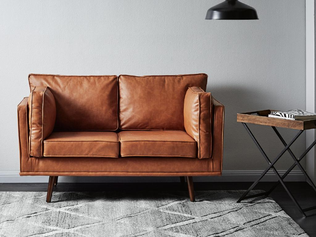 Aldi's two-seater couch ($249) goes on sale on Wednesday.