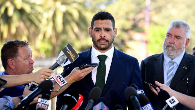 South Sydney Rabbitohs NRL player Greg Inglis speaks to the media in Sydney. (AAP Image/Joel Carrett) NO ARCHIVING