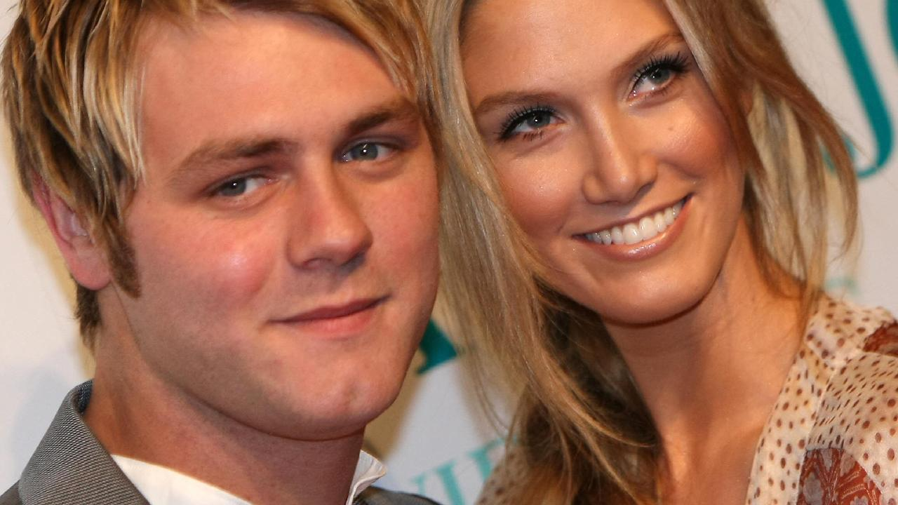Delta Goodrem and Irish singer Brian McFadden in 2008. Picture: AFP/Torsten Blackwood