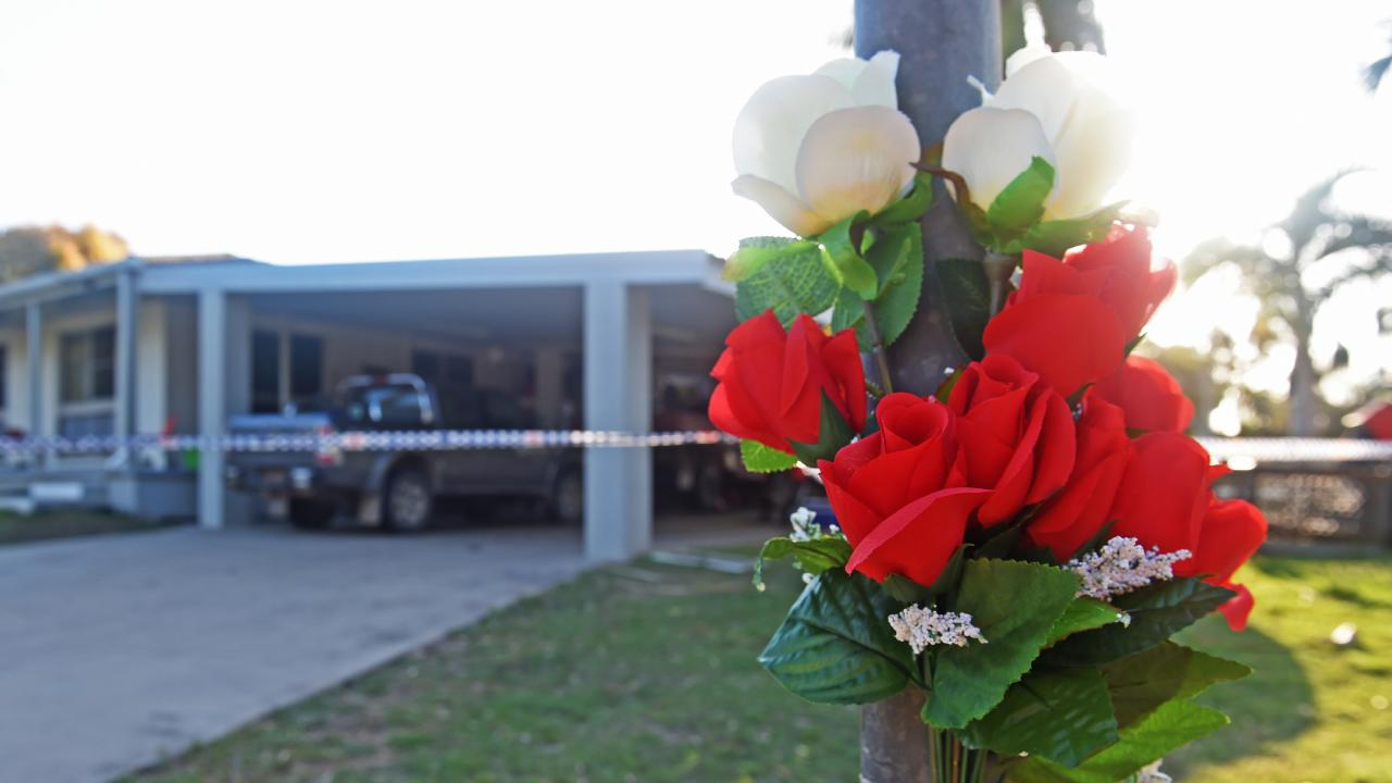 A flower memorial at the crime scene at Alva Beach. Picture: Zak Simmonds