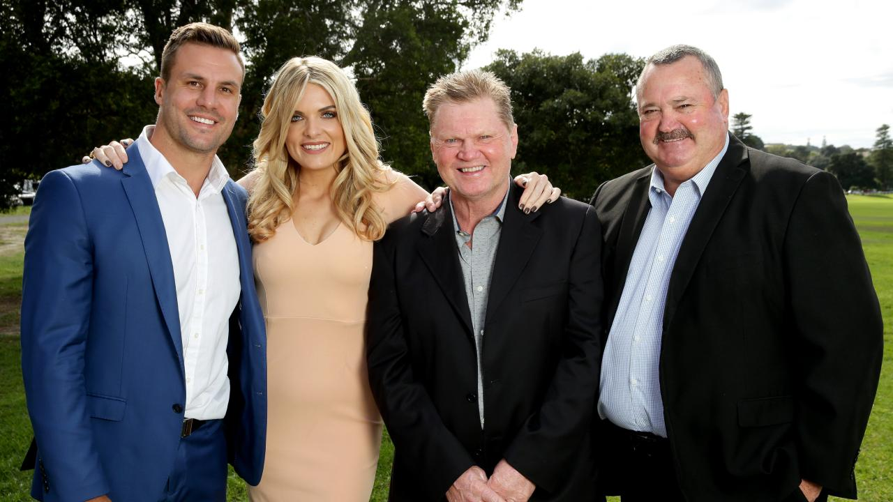The Channel Nine Footy Show crew Beau Ryan , Erin Molan , Paul Vautin and Daryl Broham . Picture : Gregg Porteous