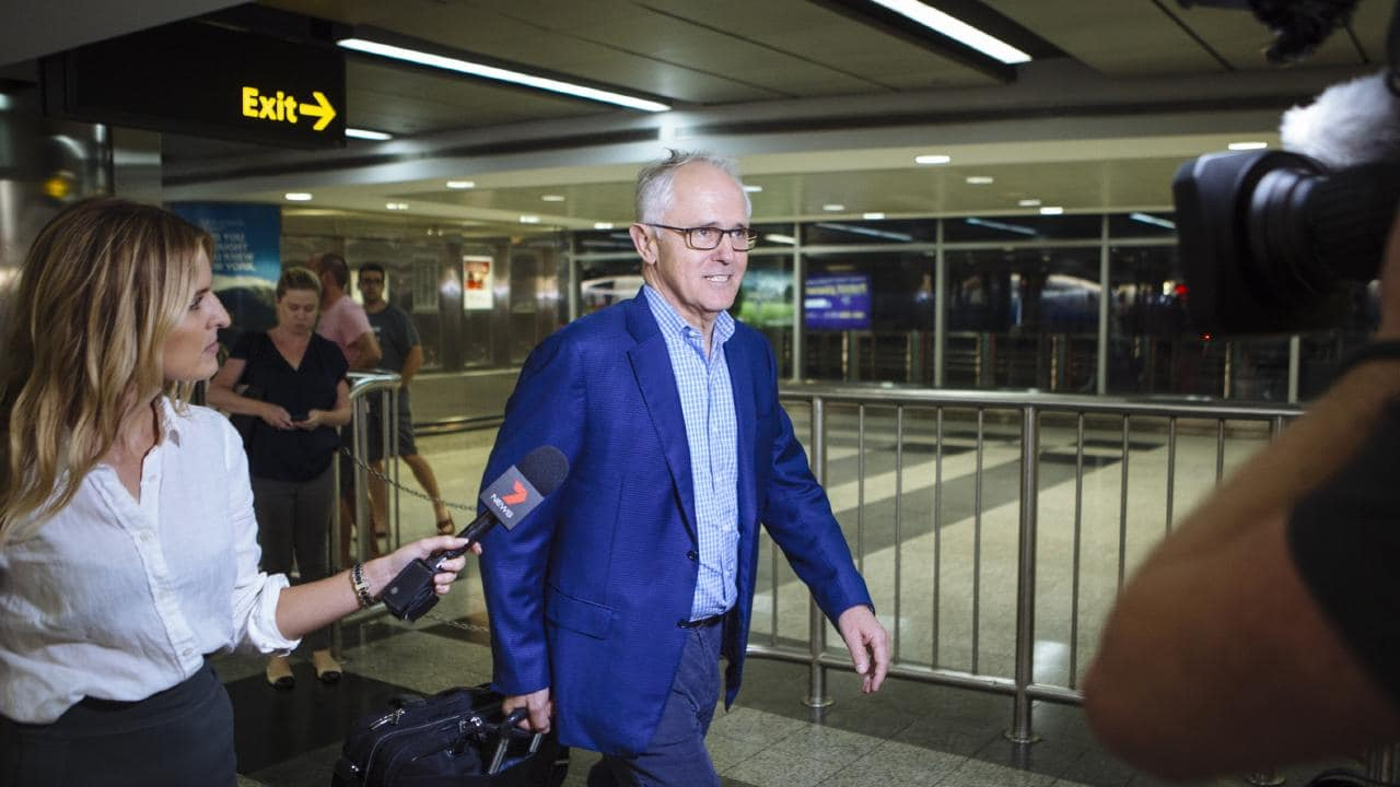Former Australian Prime Minister, Malcolm Turnbull and his wife Lucy arrive at New York's LaGuardia Airport this week. Picture: Angus Mordant for News Corp Australia