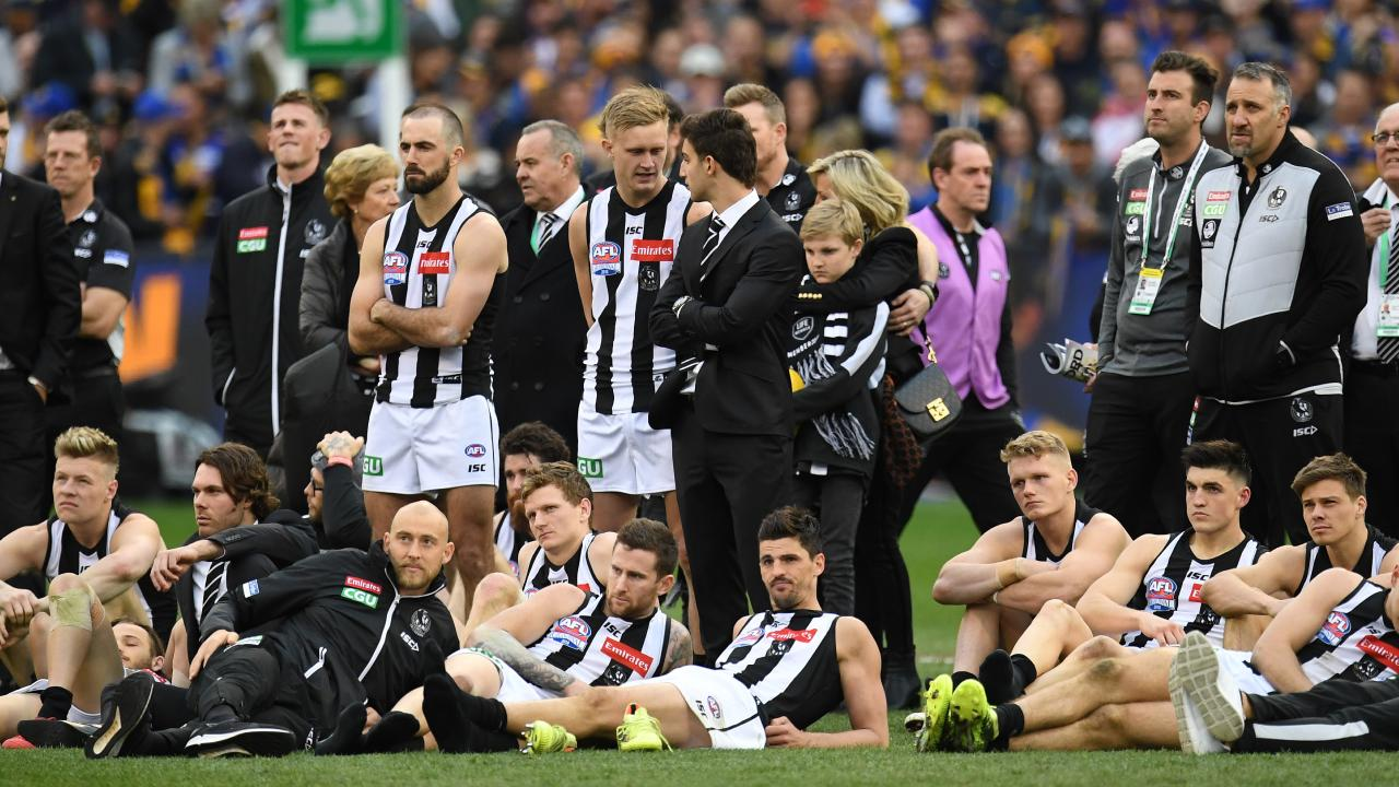 Collingwood players felt gutted after the AFL grand final. Picture: AAP
