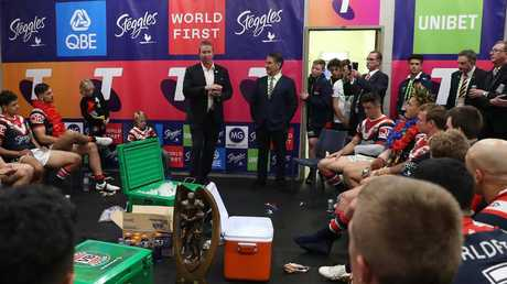 Roosters coach Trent Robinson addresses the team after the grand final, lauding Cooper Cronk's performance as one for the ages.