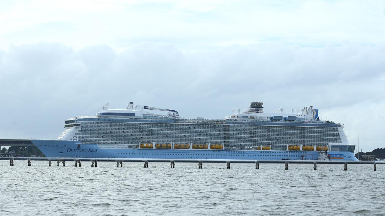 Ovation of the Seas, the fourth largest cruise ship in the world, docked at Fishermans Island, Brisbane. Picture: Liam Kidston