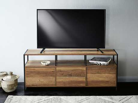 The industrial-style entertainment unit ($129).