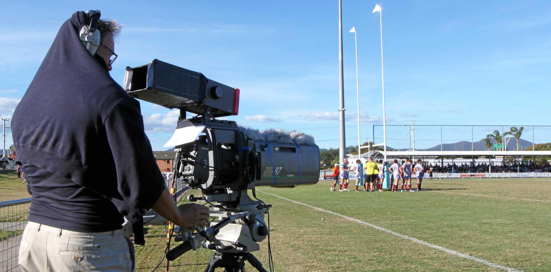 Win TV filming at the Capras game Photo John Corlett / The Morning Bulletin