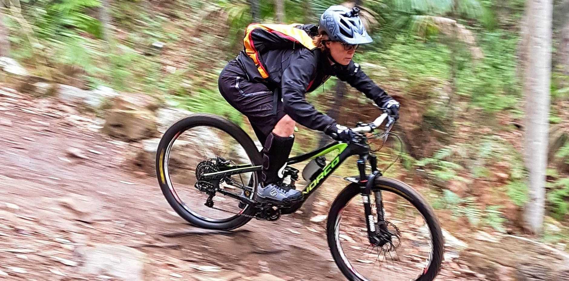 Emma Rhymer enjoying a ride at the Awaba trails, Newcastle NSW last week.