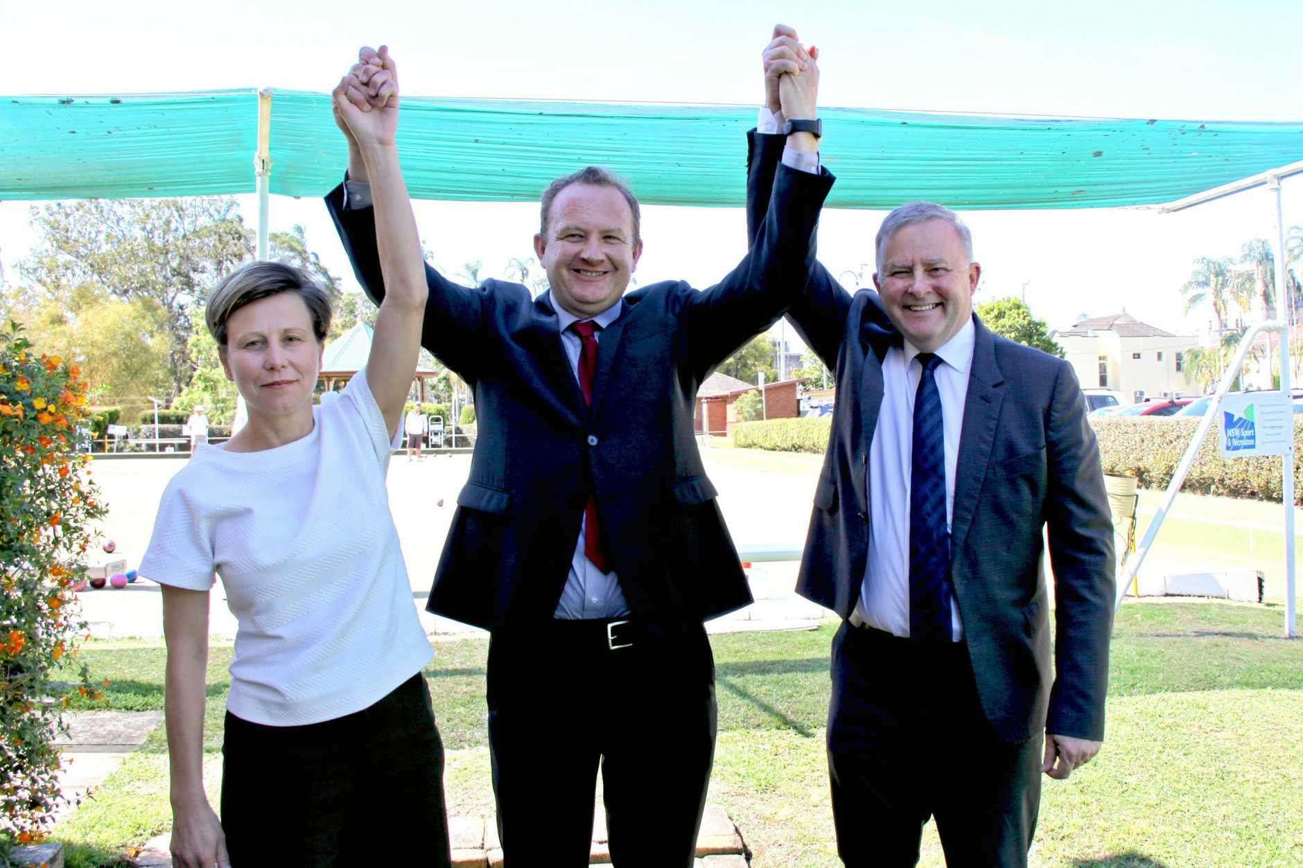 LABOR LAUNCH: Labor candidate for Page, Patrick Deegan' met with Anthony Albanese and Senator Jenny McAllister.