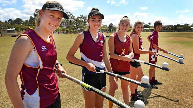 QLD State hockey representatives - (L) Daniella Lourigan, Meka Crick, Leila Steffen, Taryn Knight and Preston Mushan.