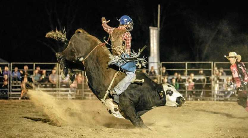 HEART-POUNDING: Bull rider competes for top spot at the Jandowae Timbertown Festival Bull Ride.