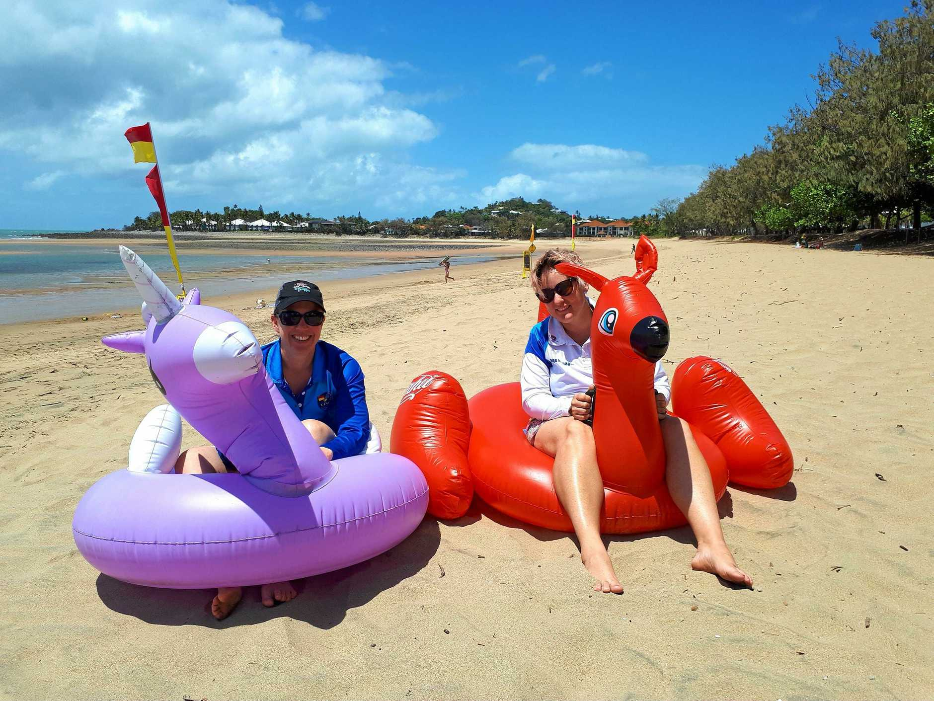 Cynthia Hegerty and Kelly Anderson are preparing for Mackay's inaugural inflatable boat race at Eimeo.