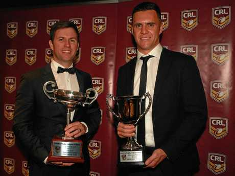 Tweed Coast Raiders representatives Michael Ashburn and Jared de Thierry collect the prestigious Clayton Cup for the best NSW Country Rugby League club of 2018.