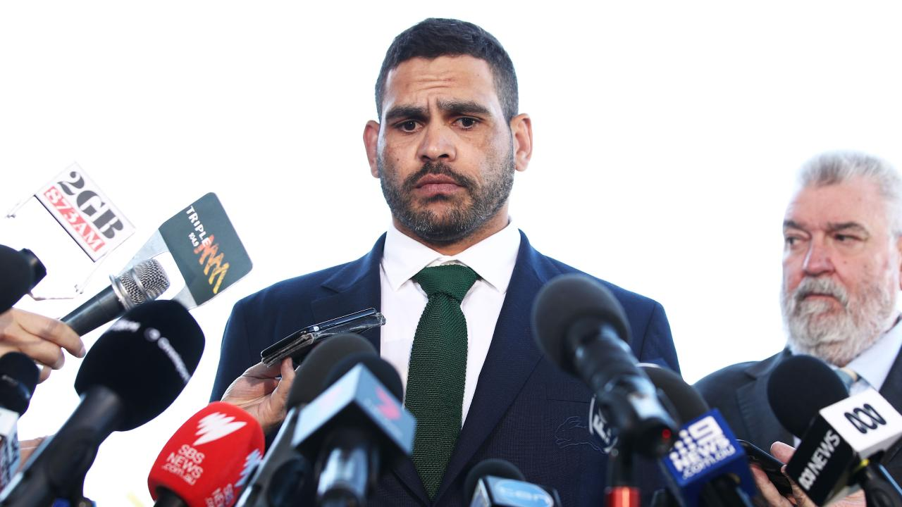 SYDNEY, AUSTRALIA - OCTOBER 02: South Sydney Rabbitohs captain Greg Inglis speaks to the media during a press conference at Redfern Oval on October 2, 2018 in Sydney, Australia. Inglis was yesterday charged with a drink driving offence. (Photo by Matt King/Getty Images) ***BESTPIX***