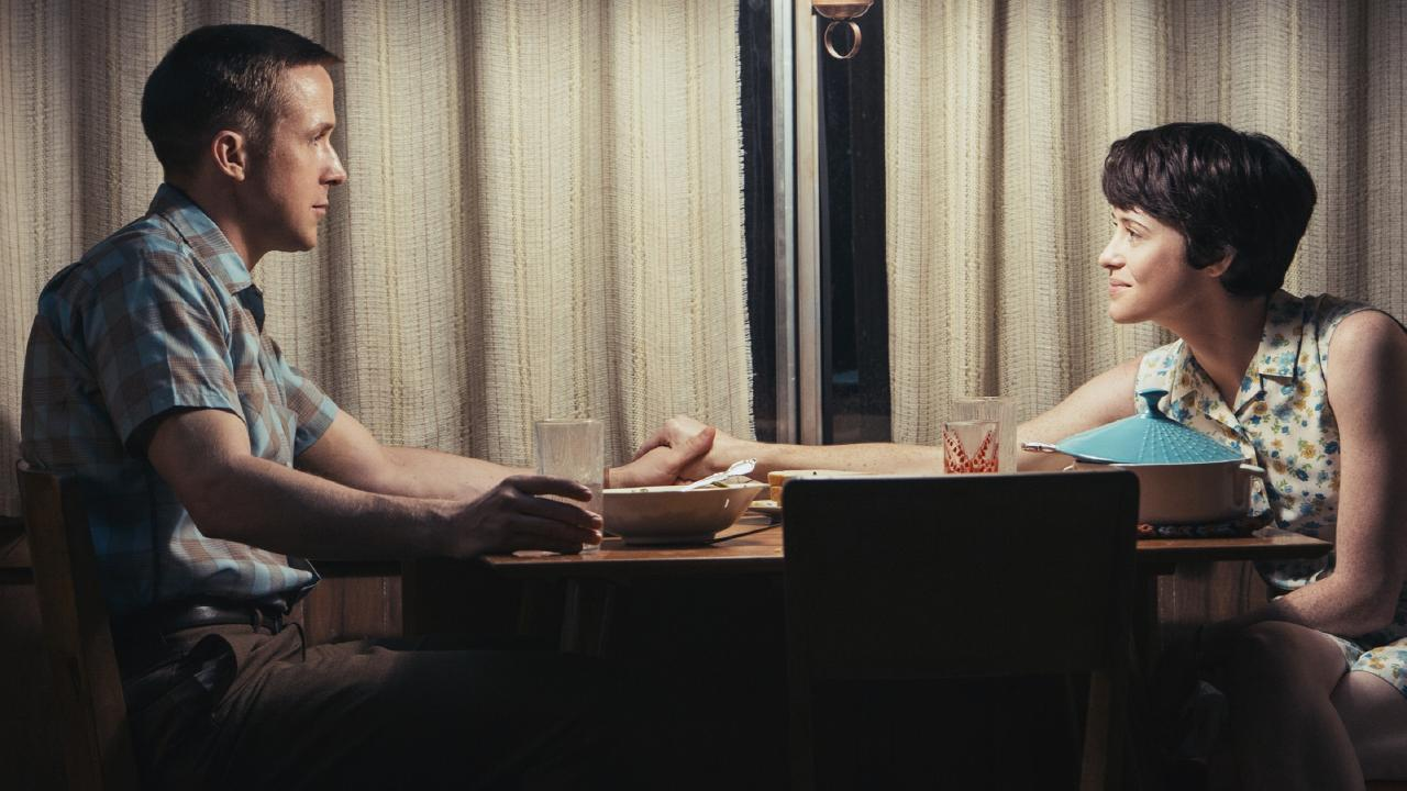 Ryan Gosling and Claire Foy in a scene from film First Man