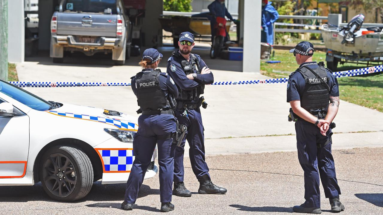 Police at the scene of the fatal double stabbing at Alva Beach. Picture: Zak Simmonds
