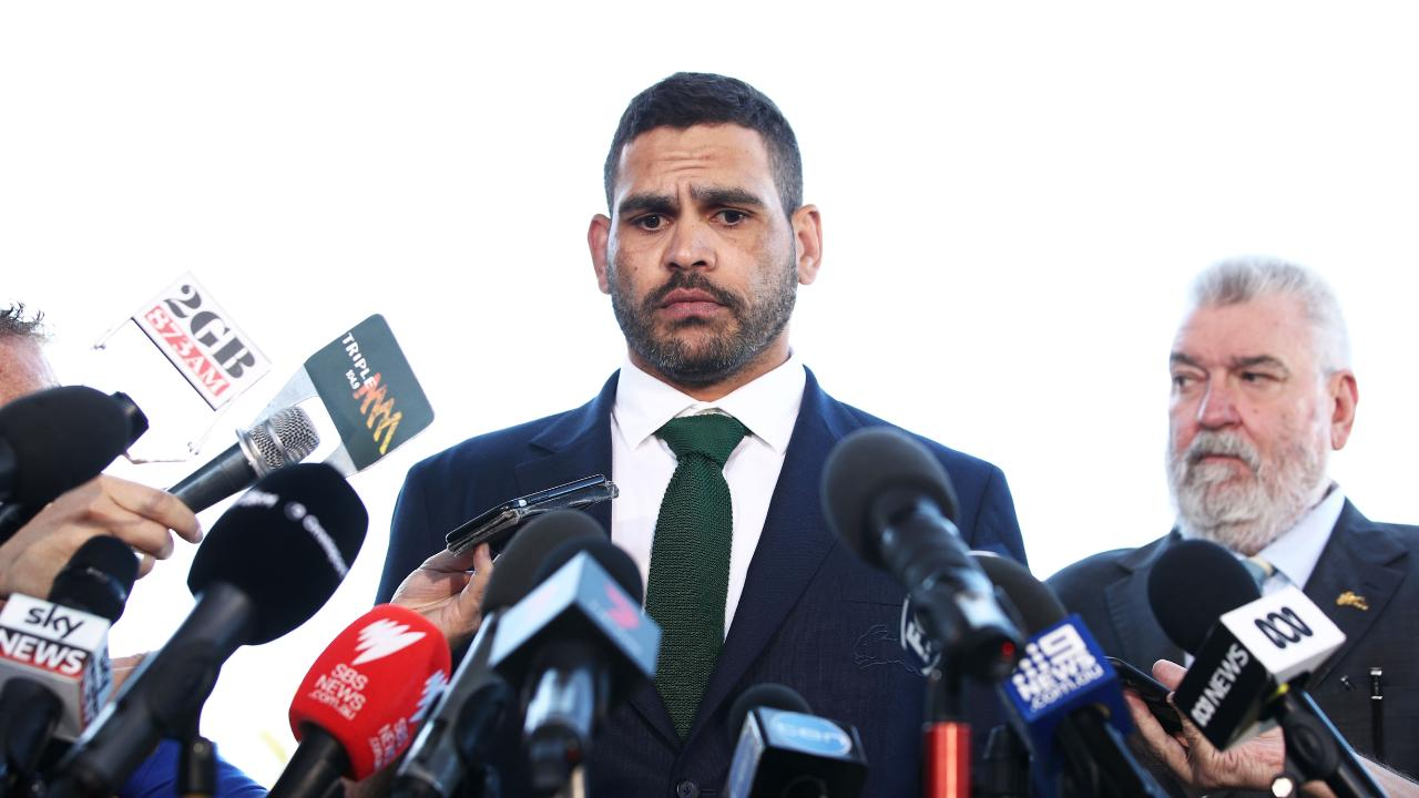 Greg Inglis speaks to the media.