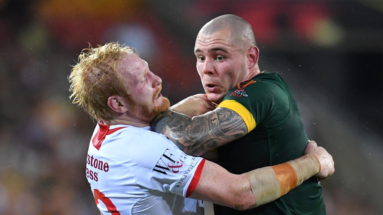 David Klemmer will be the leader of the Kangaroos forward pack when they take on the Kiwis and Tonga in October. (AAP Image/Darren England)