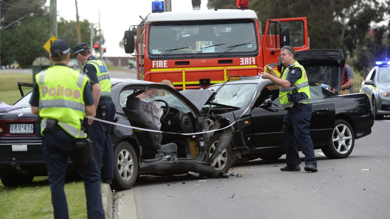 Car crash accident at McKimmies and Plenty roads, Bundoora