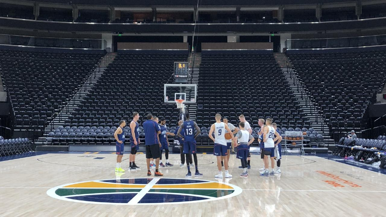 Adelaide 36ers train at Vivint Smart Home Arena in Salt Lake City on Tuesday.