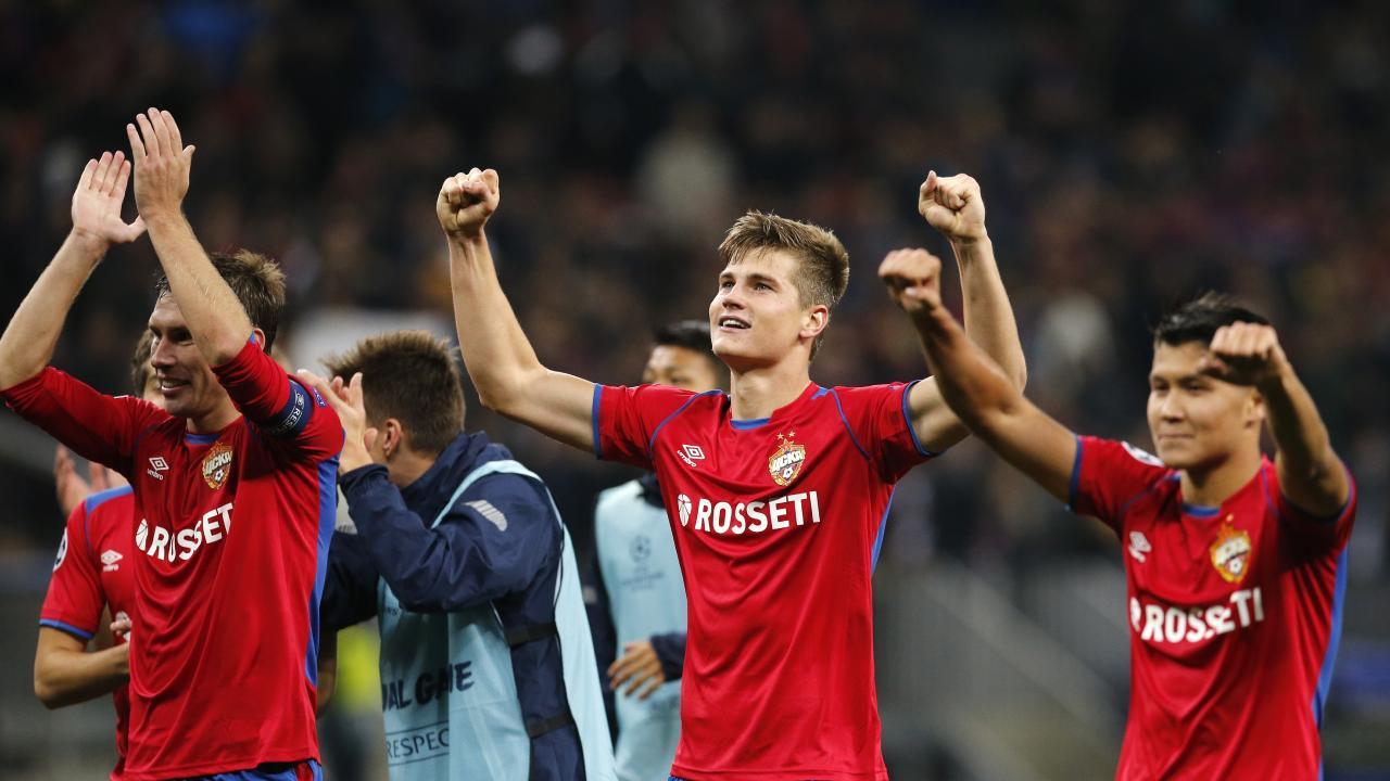CSKA defender Kirill Nababkin, Jaka Bijol, Ilzat Akhmetov celebrate their victory