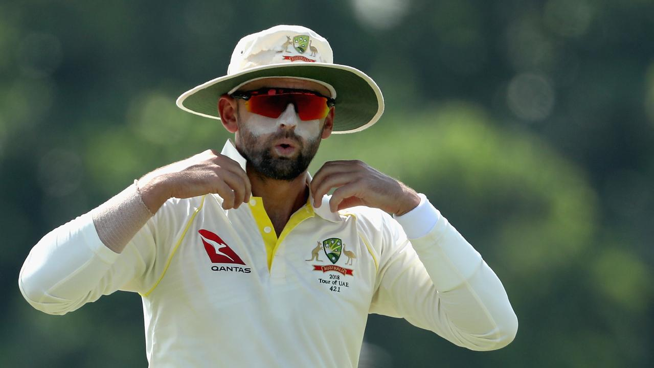 Nathan Lyon took 8-103 in the first innings of the warm-up match against Pakistan A in Dubai. Picture: Francois Nel/Getty Images