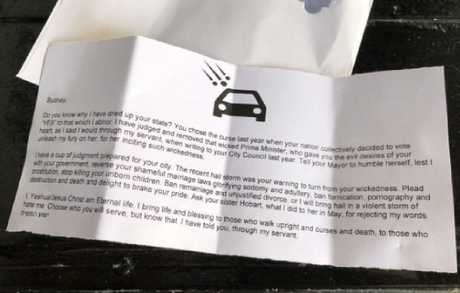 """An offensive homophobic letter is being placed in Sydney residents' letterboxes by someone claiming to be """"Jesus."""""""
