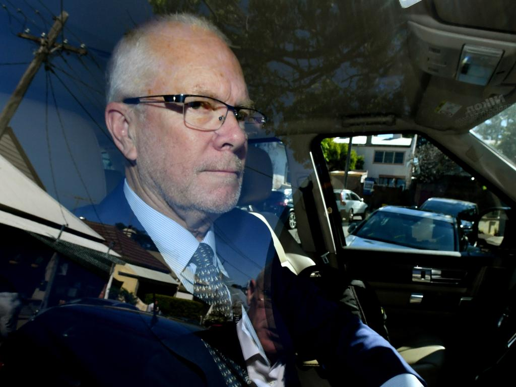 Former ABC Chairman Justin Milne returns to his home in Sydney after resigning as chairman of ABC on Thursday. Picture: AAP