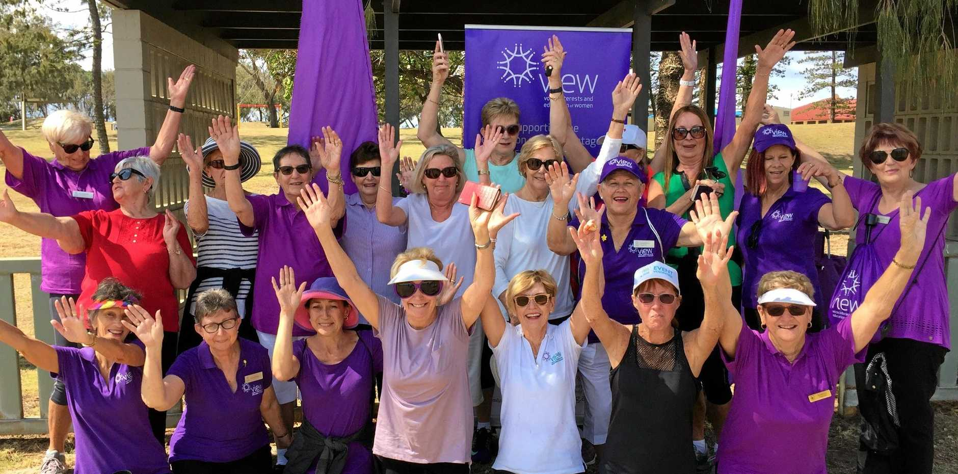 HANDS UP FOR FUN: Southport Day VIEW Club had a great morning   when 40 VIEW ladies walked 4km at Main Beach. It was a lovely morning with plenty of smiles.