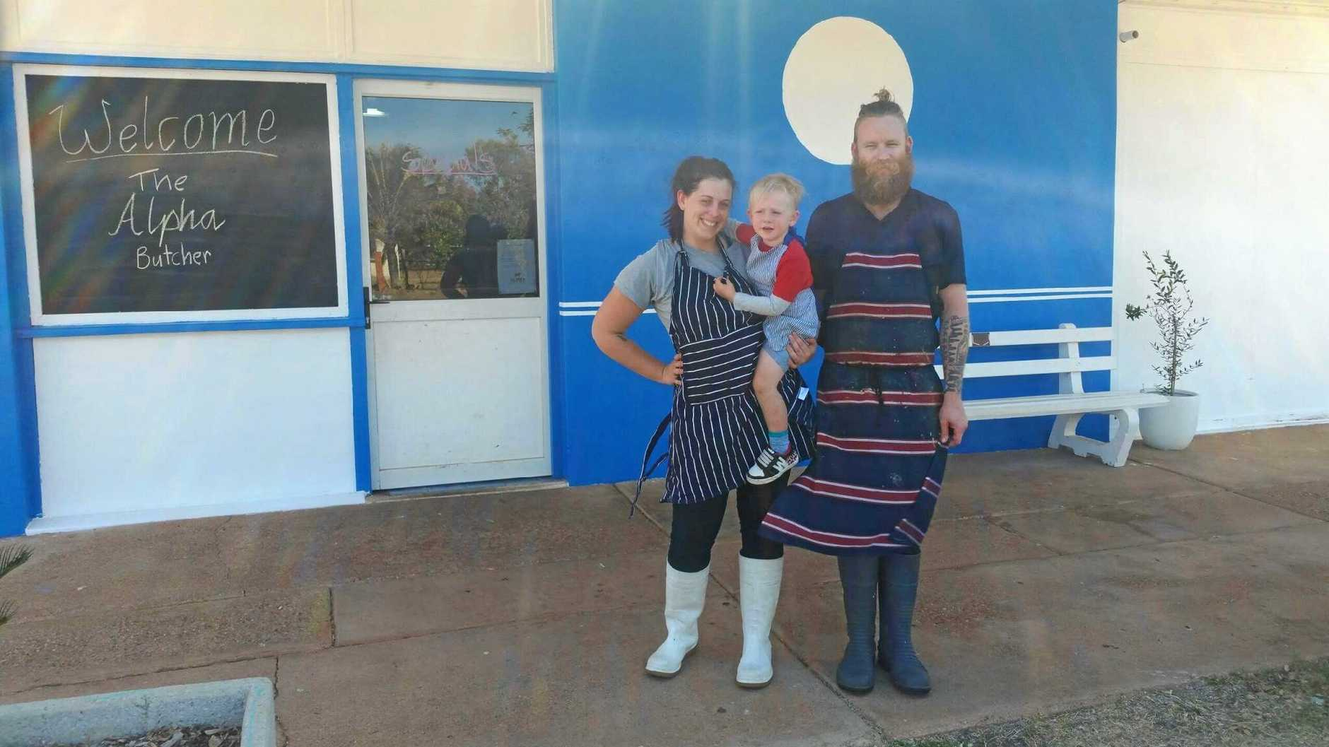 NEW OWNERS: Steve Anderson with partner Kylie Jones and their son, Stockton, 3, are the new owners of the butchers in Alpha. They hope to bring a fresh new face to the town that is amidst a harsh drought covering most of Queensland and New South Wales.