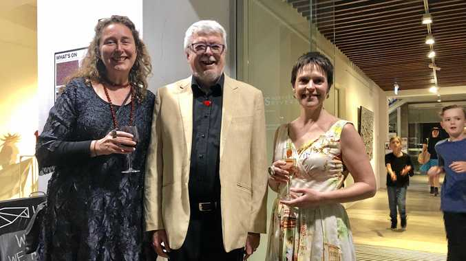 Lismore Regional Gallery curator Fiona Fraser, Peter Derrett and National Portrait Gallery in Canberra curator Joanna Gilmour.