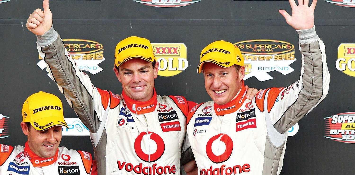 Craig Lowndes and Mark Skaife   on the podium after winning at Bathurst in 2010. Picture: Brendon Thorne/Getty