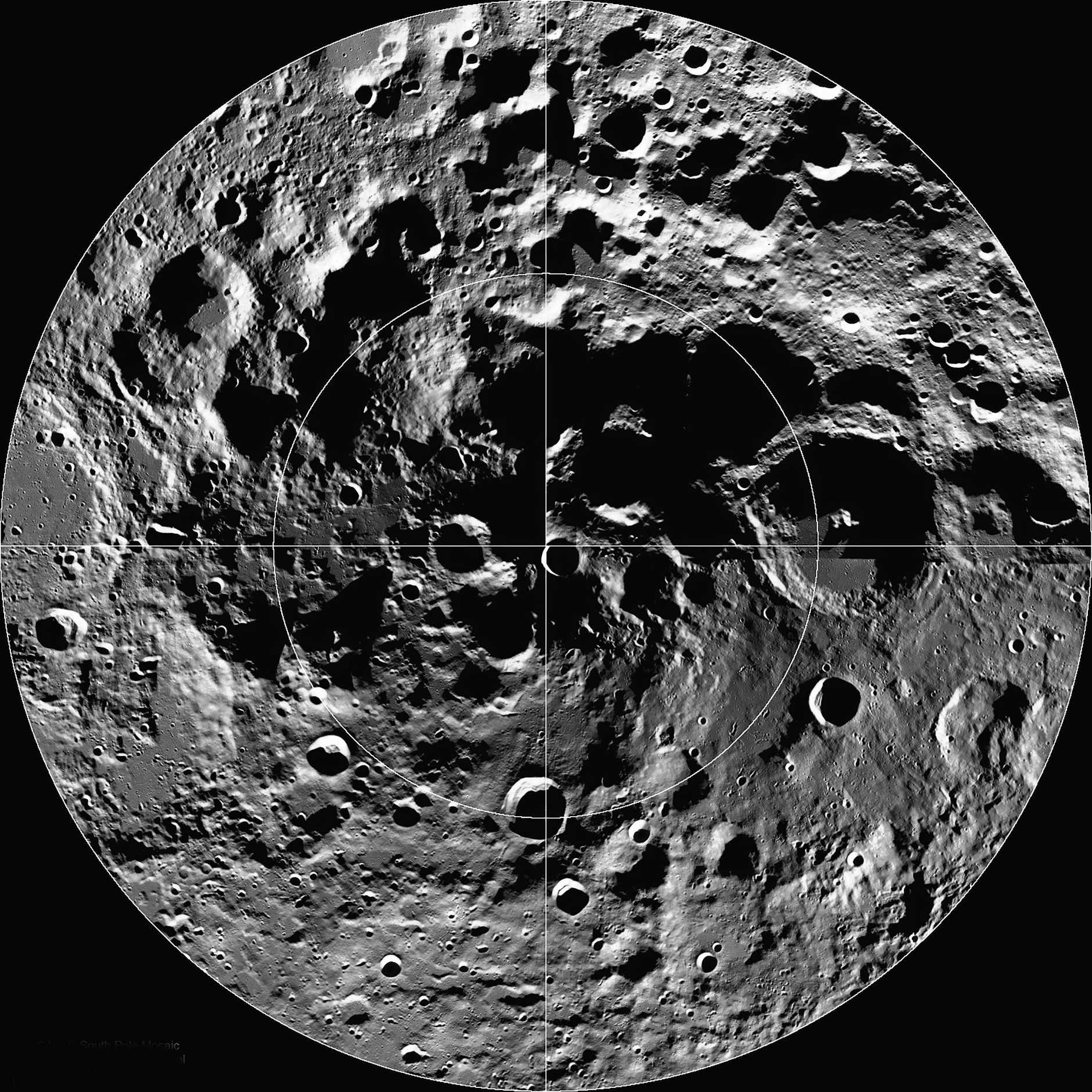 LUNARSCAPE: Frozen water-ice could be at the bottom of these deep craters at the Moon's north and south poles.
