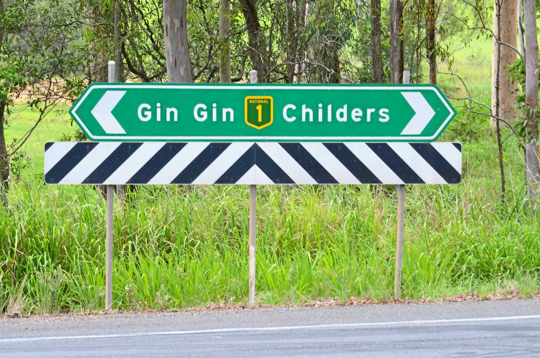SIGN: Bruce Highway at Apple Tree Creek. Photo: Jodie Dixon / Isis Town & Country