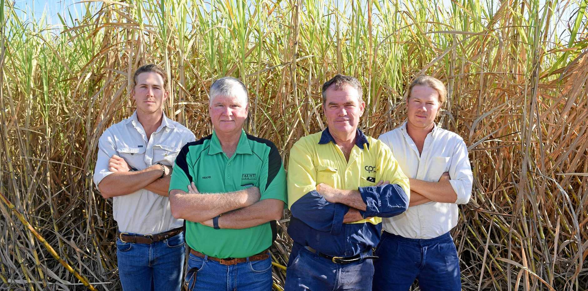 NOT HAPPY: Proserpine cane farmer Peter Faust (second from right) with (from left) son Matt Faust, farm manager Shane Butler and son Peter Faust.