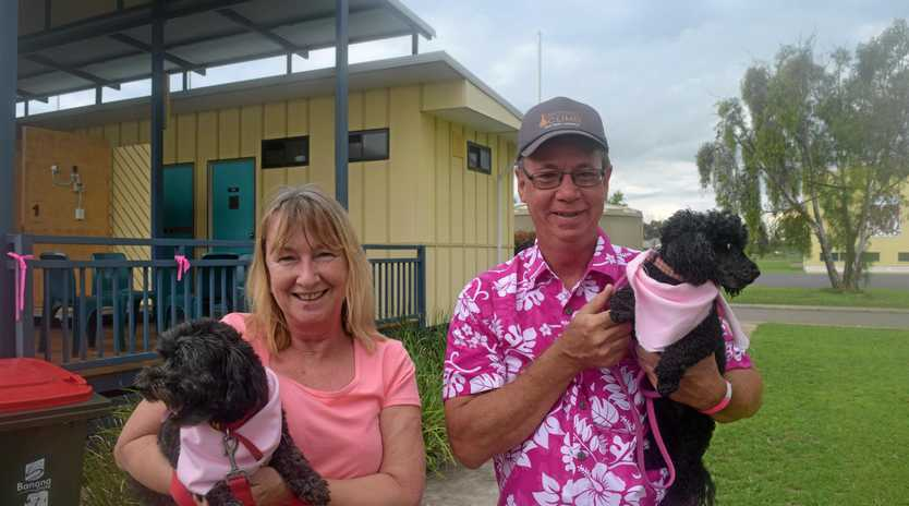 WALK FOR CHARITY: Marianne Roe and Mark Warnick with Molly and Marley at last year's event.