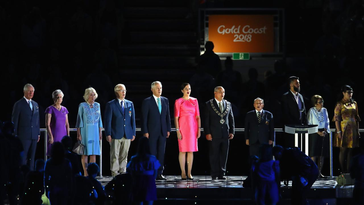 Prince Charles, Prince of Wales, President of the Commonwealth Games Federation Louise Martin, Camilla, Duchess of Cornwall, Chairman of Gold Coast 2018 Commonwealth Games Corporation Peter Beattie, Prime Minister of Australia Malcolm Turnbull, Premier of Queensland Annastacia Palaszczuk and Gold Coast Mayor Tom Tate at the Opening Ceremony for the Gold Coast 2018 Commonwealth Games. Picture: Mar