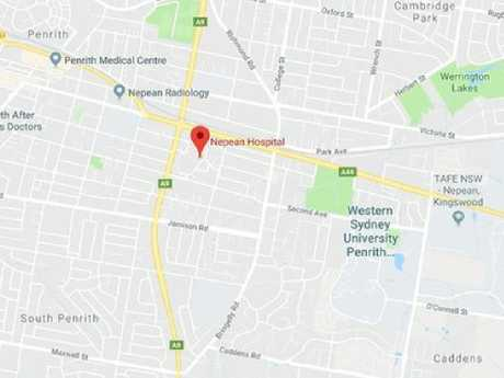 The location of the shooting at a hospital, west of Sydney.
