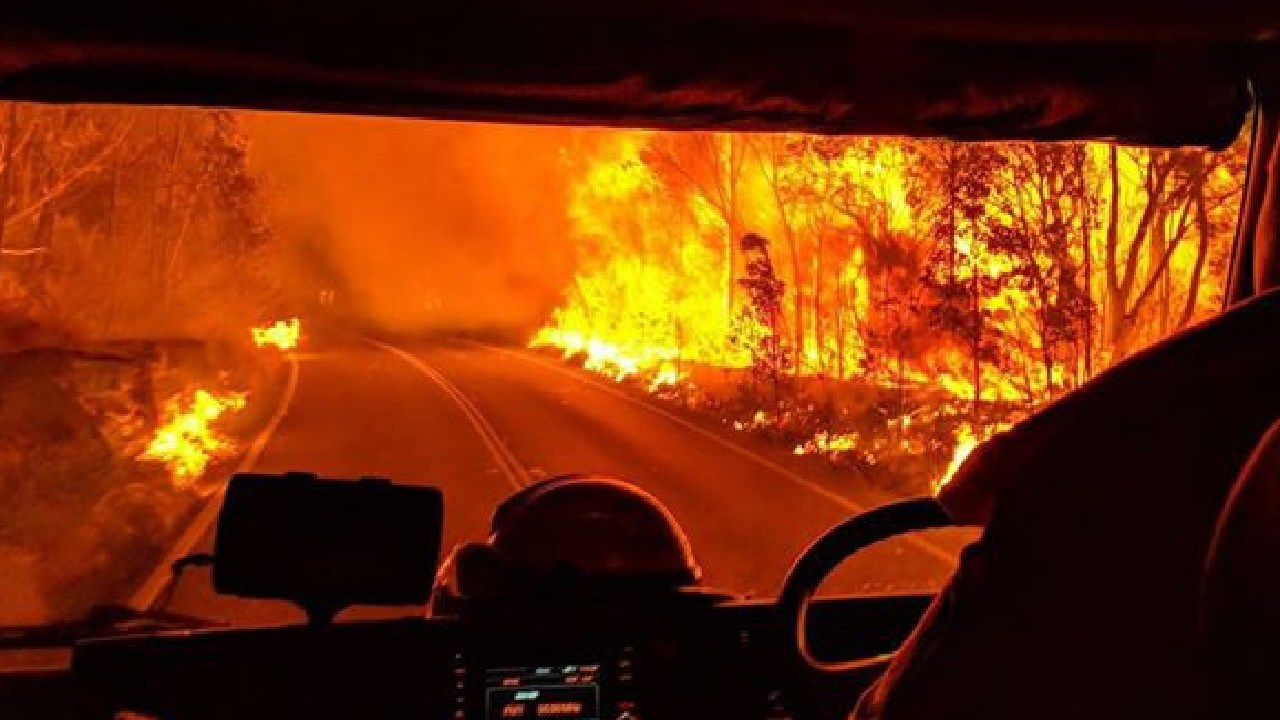 Backburning pictured from a NSW RFS fire truck. Picture: Twitter