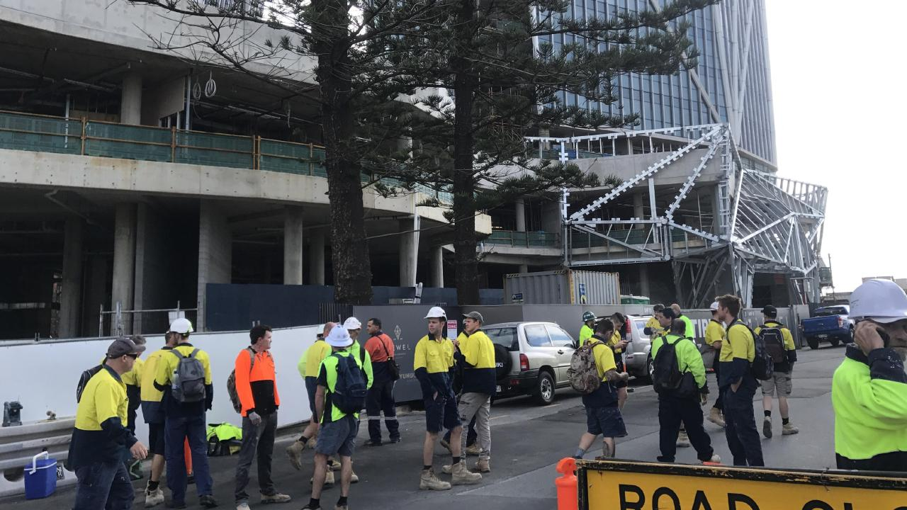 Tradies of the Jewel site just stood around the $1.4 billion development after they decided to strike.