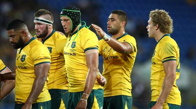 GOLD COAST, AUSTRALIA - SEPTEMBER 15: Adam Coleman of the Wallabies and team mates prepare for a scrum during The Rugby Championship match between the Australian Wallabies and Argentina Pumas at Cbus Super Stadium on September 15, 2018 in Gold Coast, Australia. (Photo by Cameron Spencer/Getty Images)