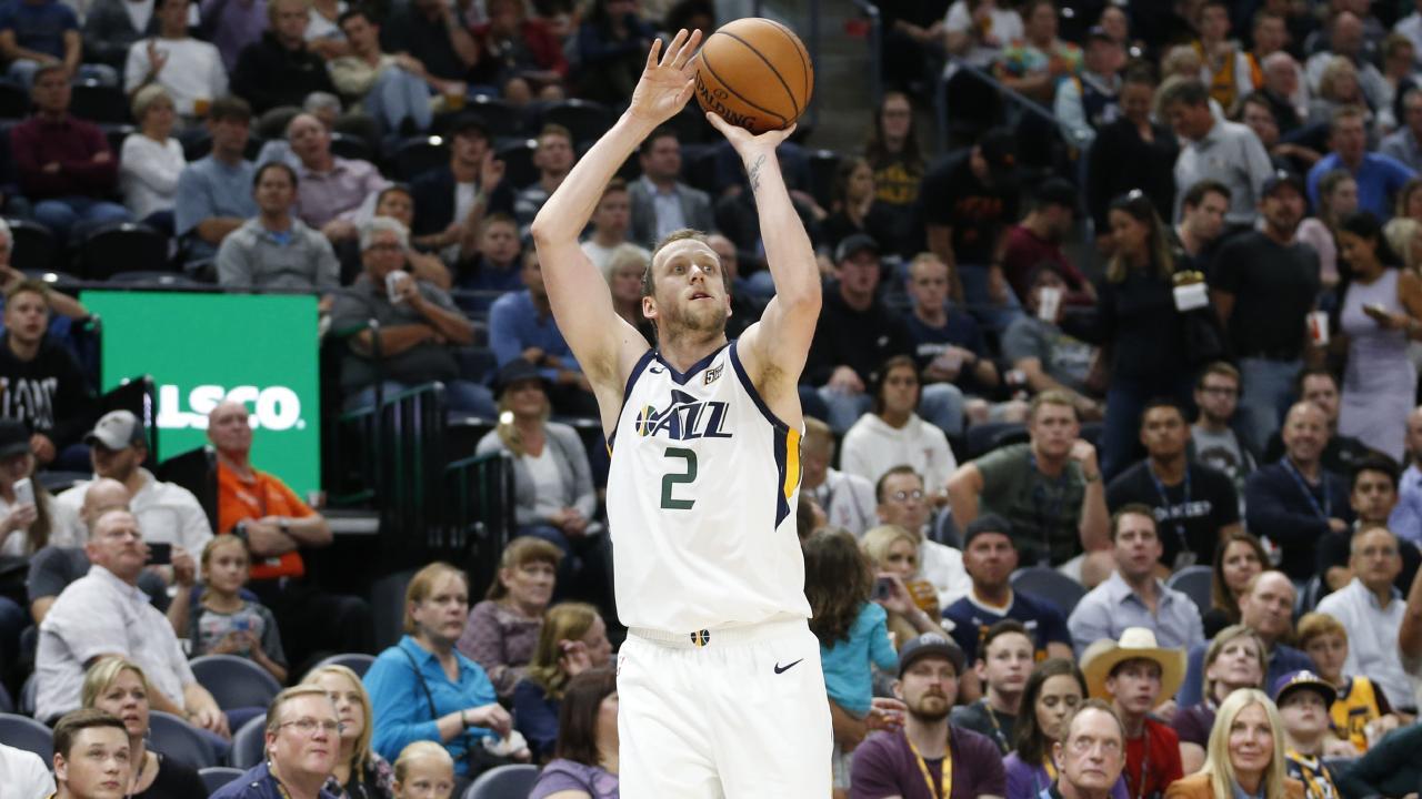 Utah Jazz forward Joe Ingles nails a three-pointer against Toronto. Picture: Rick Bowmer (AP).