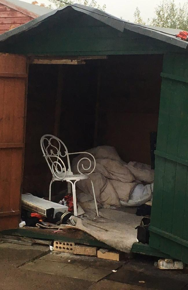 The 'slave' was found living inside this shed. Picture: GLAA via PA