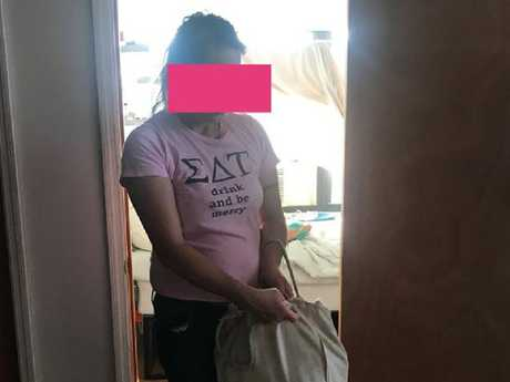 The drunken house cleaner took the print on her shirt a little too literally.